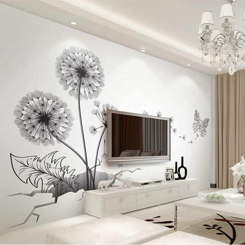 New Wall Stickers 3D Broken Wall Dandelion 150x70cm Waterproof Removable Wall Stickers For Kids Rooms Wall Art  Home Decoration