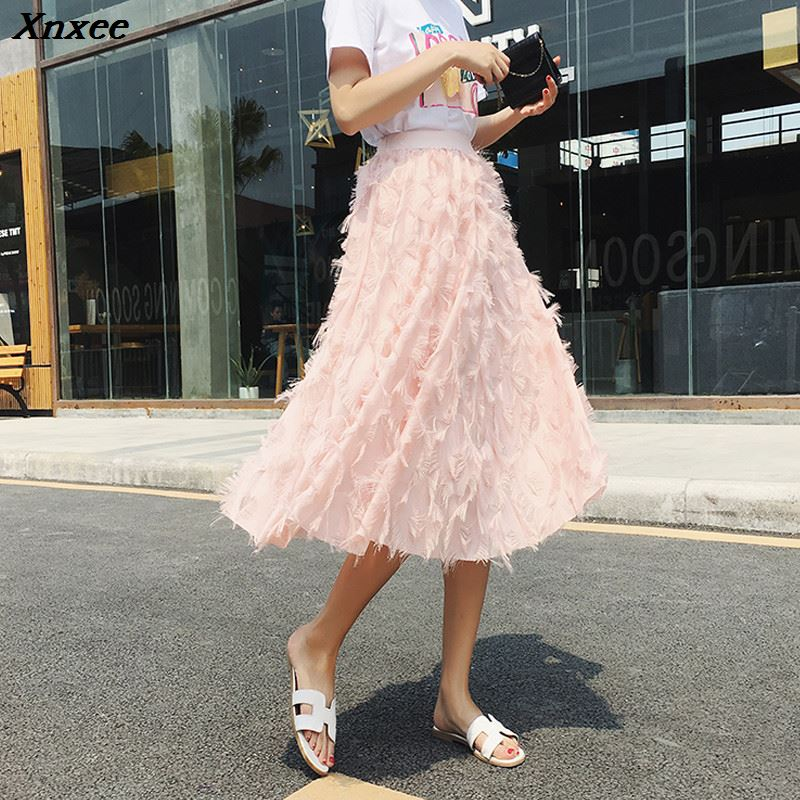 2019 New Spring Summer Bubble Tulle Tassel Skirt Women Tulle Skirts Female Tutu Skirts Pleated Feather Applique Skirt Xnxee in Skirts from Women 39 s Clothing