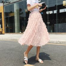2019 New Spring Summer Bubble Tulle Tassel Skirt Women Skirts Female  Tutu Pleated Feather Applique Xnxee