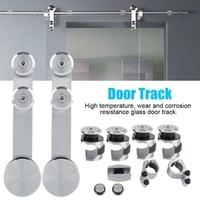 7.2ft Shower Room Sliding Door Rail Pulley Glass Door Hardware Kit Top Mounted Hanger Track Stainless Steel Bathroom Door Roller