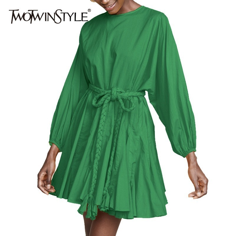 TWOTWINSTYLE Casual Army Green Dress Female O Neck Lantern Sleeve Mini Pleated Dress For Women Spring