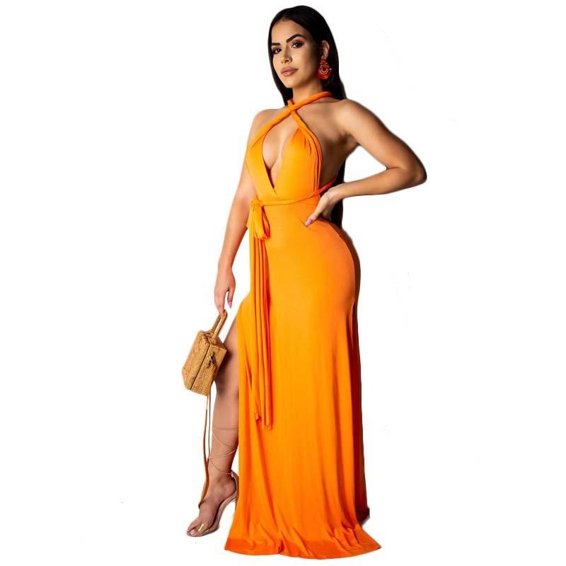 V-neck Party Maxi Dress Spaghetti Strap Backless Dress Boho Club Bandage Long Vestidos High Split Slim Elegant Femme Robe