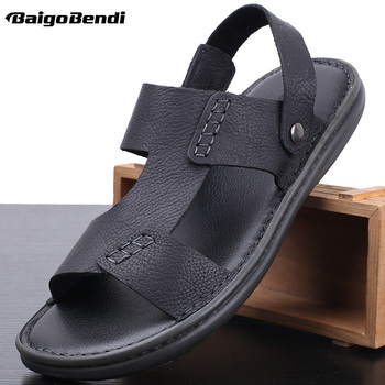 Men Summer Light Weight Sandals Causal Leather Outside Slippers Nonslip TPR Outsole Man Slides