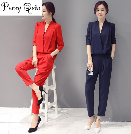 GOOD quality Women   Jumpsuit   2019 long sleeve autumn V-neck Long Overalls Chiffon Elegant Rompers Bow Playsuit Combinaison Femme