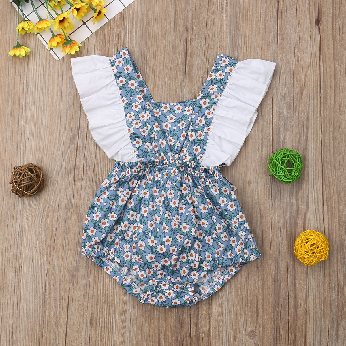 2019 Newborn Baby Girl Floral Ruffle Bodysuit Ruffles Sleeve 3 Colors Cute Jumpsuit Outfit Sunsuit 0-24M