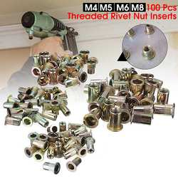 100 sztuk mieszane opakowanie gwintowane nitonakrętki ze stali węglowej M4 M5 M6 M8 płaskie nit z łbem nitonakrętki zestaw nakrętki wstaw nitowanie wiele rozmiarów