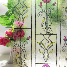 цена на Static Cling Decorative Window Film Frosted Stained Rose Flower Pattern Glass Sticker Privacy 30*100 cm