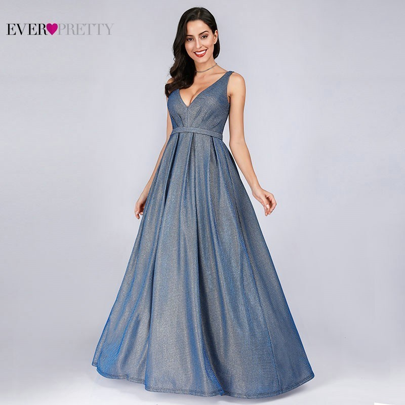 Sparkle Evening Dresses Long Ever Pretty EP07889 A-Line V-Neck Vintage Paillette Formal Dresses Elegant Party Gowns 2020