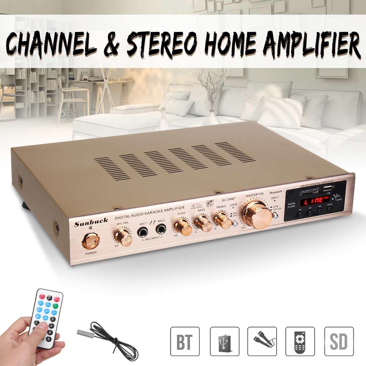 720W 5 Channel Home Digital Audio Amplifier Auto Car AV HiFi Class Power Amplifiers Stereo Sound FM Radio Player Aluminum Alloy