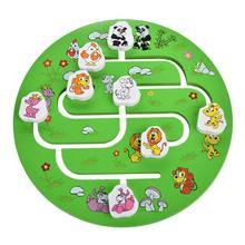 Montessori Children Wooden Round Labyrinth Board Cartoon Animals Round Maze Kids Early Educational Puzzle Desktop Toys Gift
