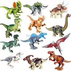 Para jurassic mundo de dinosaurios del Parque Velocirap Tyrannosaurus Rex película Set miniaturas de bloques de construcción ladrillos juguetes figuras para niños