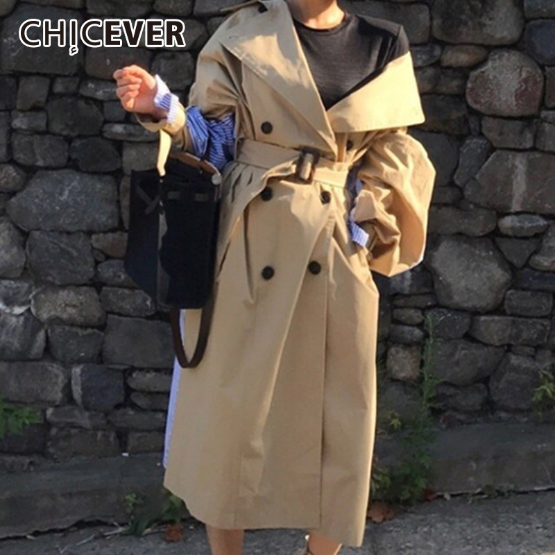 CHICEVER Autumn Trench Coat For Women Loose Windbreaker Back Patchwork Striped With Lace Up Casual Coats Female Clothes Outwear