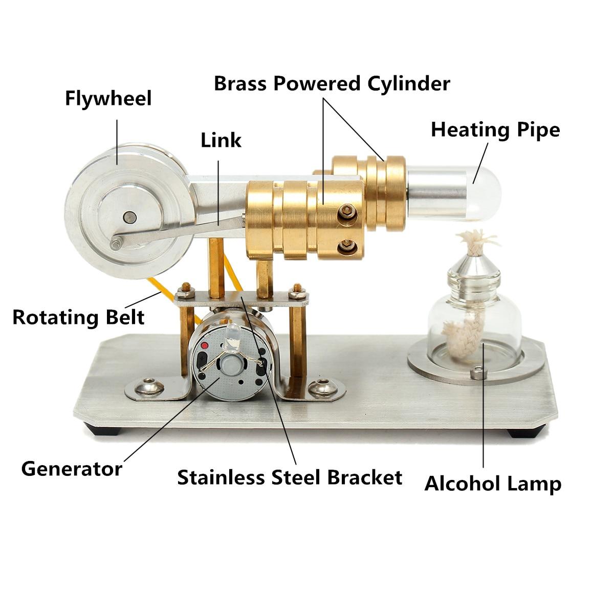 Mini moteur à Air chaud Stirling moteur modèle jouet éducatif Kit cadeau avec moteur à lumière LED principe intuitif pour l'enseignement en classe