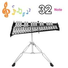 Складной 32 Note Glockenspiel деревянный ксилофон рамка алюминиевый обучающий ударный музыкальный инструмент с регулируемой подставкой