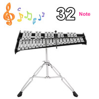 Foldable 32 Note Glockenspiel Xylophone Wooden Frame Aluminum Educational Percussion Musical Instrument With Adjustable Stand