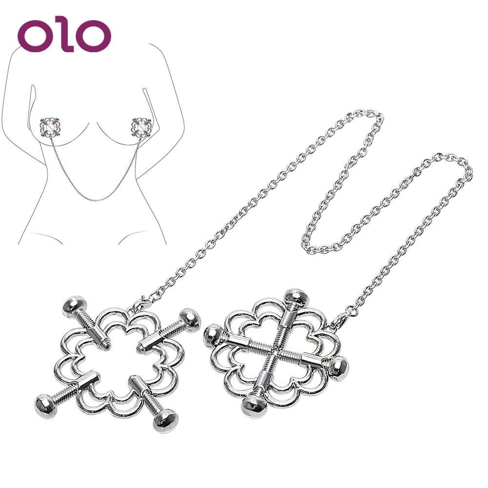 OLO Nipple Clamps Nipple Stimulator Breast Clips Stainless Steel  Erotic Toys Sex Toys For Women Couple Adult Games SM Flirt