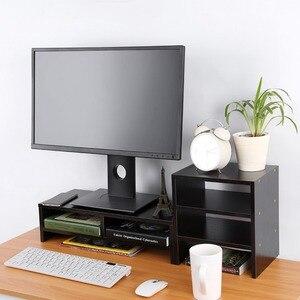 Image 5 - Soporte vertical para Monitor de ordenador portátil organizador de almacenamiento de madera de escritorio + herramienta de estante de 3 capas
