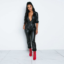 black PU leather long jumpsuit macacao feminino rompers womens body mujer sexy costumes streetwear sleeve winter