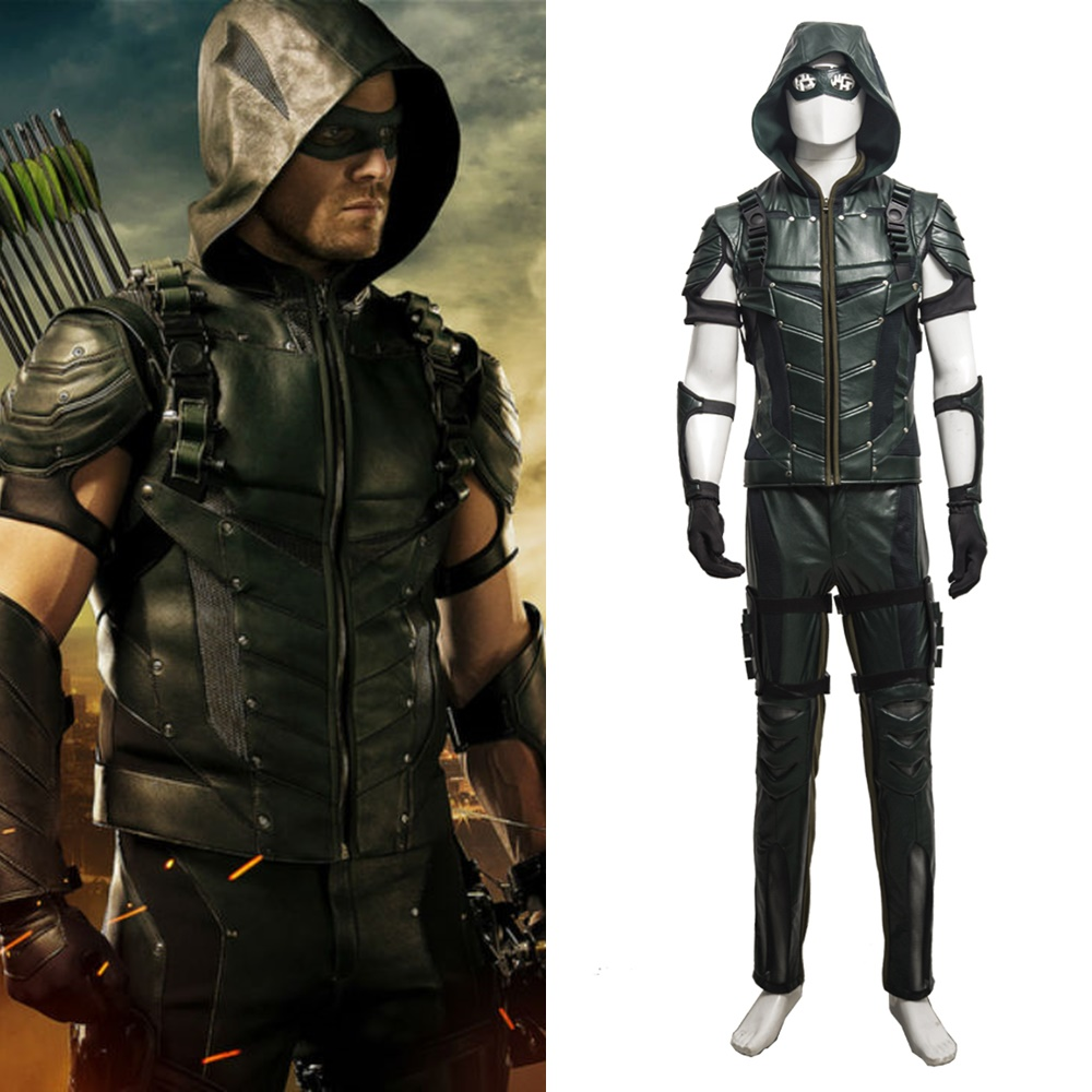 New Arrow Season 4 Oliver Queen Arrow Cosplay Costume Halloween Outfit