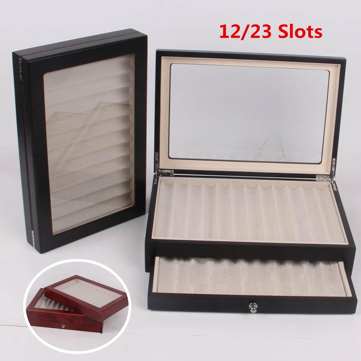 Wooden Pen Box 12/30 Pen Fountain Wood Display Case Holder Storage Collector Organizer Box Black