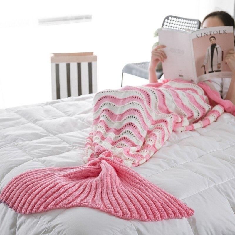 Couverture de queue de sirène adulte au crochet tricoté confortable avec motif de vague couverture de canapé décoration de maison cadeau d'anniversaire saint-valentin