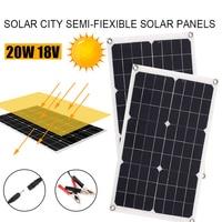 ELEG Outdoor Solar Panel 20W 18V Portable Solar cell Emergency Power Supply Solar Generator USB+DC Port Solar Panels Power Cha