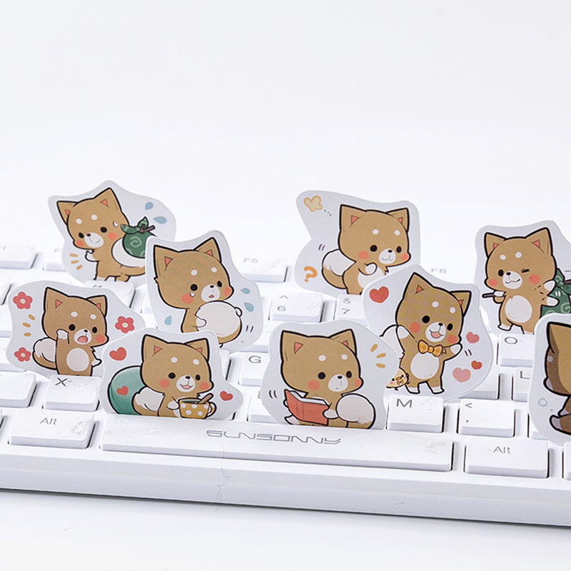 45Pcs Cute Dog Stickers  Lovely Adhesive Paper Stickers Kawaii Stationery StickersFor Kids  Diary Photo Decorative Scrapbooking