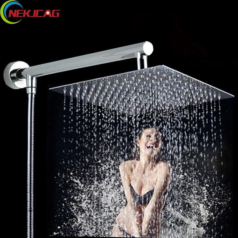 "Polished Chrome Square Ultrathin 8"" Rainfall Shower Head 38cm Shower Arm 150cm Shower Hose"