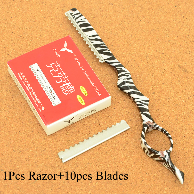 Meisha 1Pcs Salon Barbers Hair Thinning Razor 10pcs Blades Hairdressing Cutting Razors Removal Tools Change Blade Knife HC0005