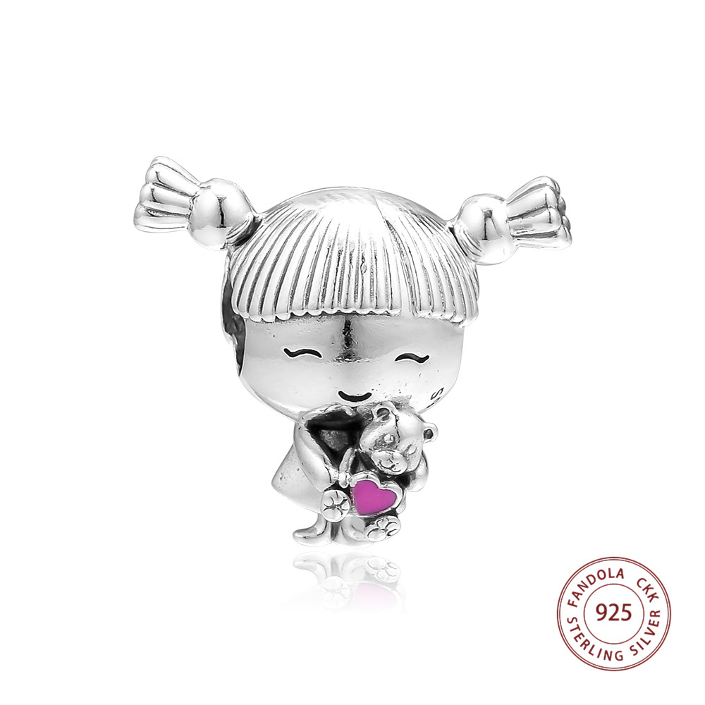 Girl with Pigtails Charm Fits Pandora Charms Bracelet 925 Sterling Silver Beads for Jewelry Making perles Mothers Day 2019Girl with Pigtails Charm Fits Pandora Charms Bracelet 925 Sterling Silver Beads for Jewelry Making perles Mothers Day 2019