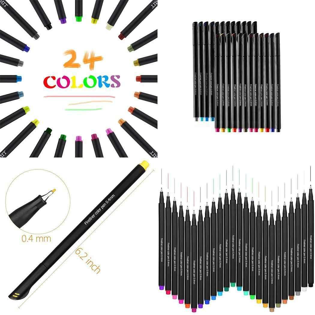 Тонкие маркеры с тонкими точками ручка несколько 24 цветов Fineliner ручки с красками ручка 0,4 мм ПВХ прочный портативный для дома, офиса, школы