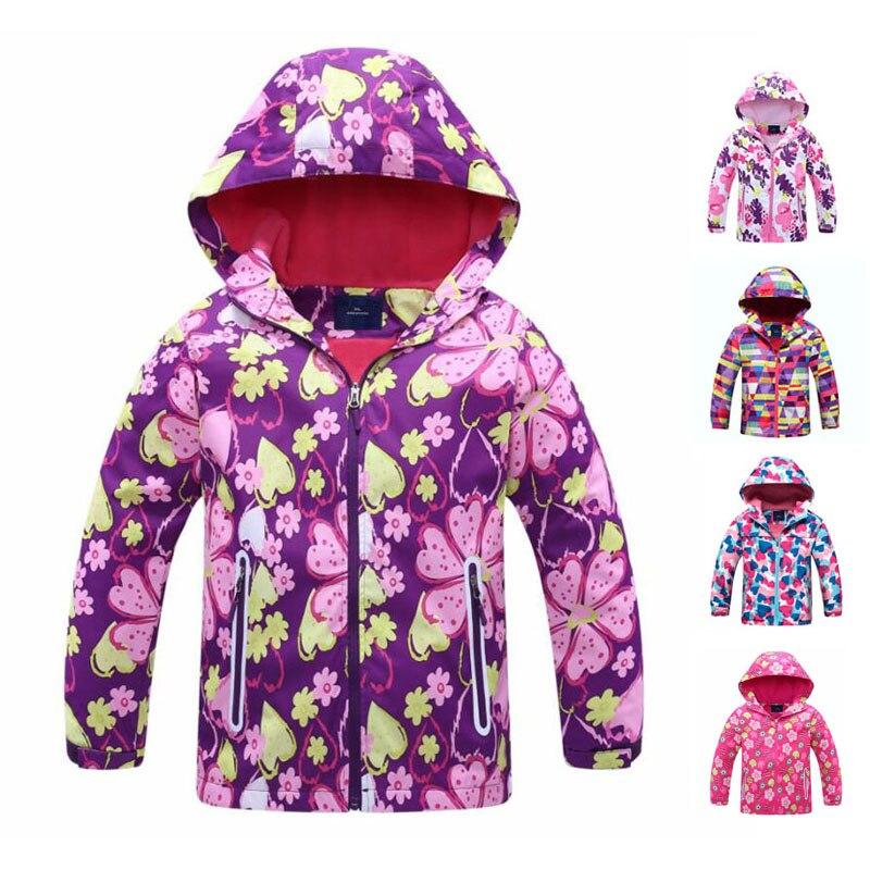 Ветровка куртка для девочек для детей, с капюшоном, 2019 весенний цветок из Полар флиса для девочек; Верхняя одежда; пальто От 3 до 12 лет, детские куртки