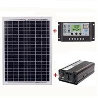 18V20W Solar Panel +12V / 24V Controller + 1500W Inverter Ac220V Kit, Suitable For Outdoor And Home Ac220V Solar Energy Saving