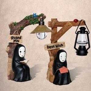 Japanese Anime Studio Ghibli Totoro No Face Man LED Night Light Dolls Miyazaki Hayao Spirited Away Resin Action Figure Kids Toys