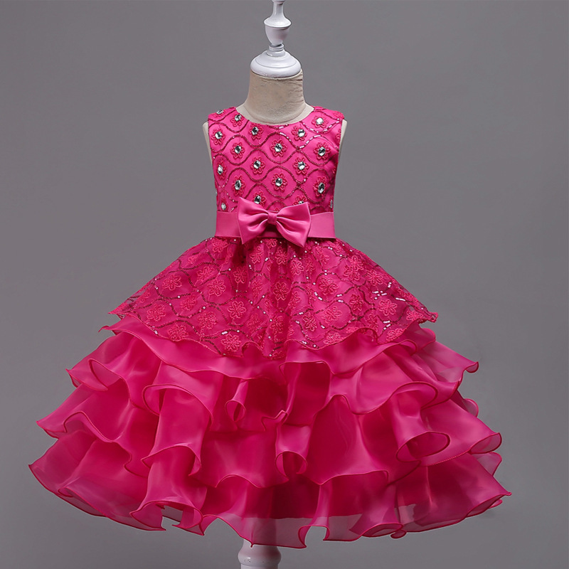 Gorgeous   Flower     Girl     Dresses   Appliques O-Neck Sleeveless Ball Gown Tulle Crystal Bow Sashes Communion   Dresses   For Wedding Party