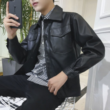 2018 Winter New faux Leather Jacket Loose Male Handsome Self-cultivation jaket men streetwear Clothing Free shipping