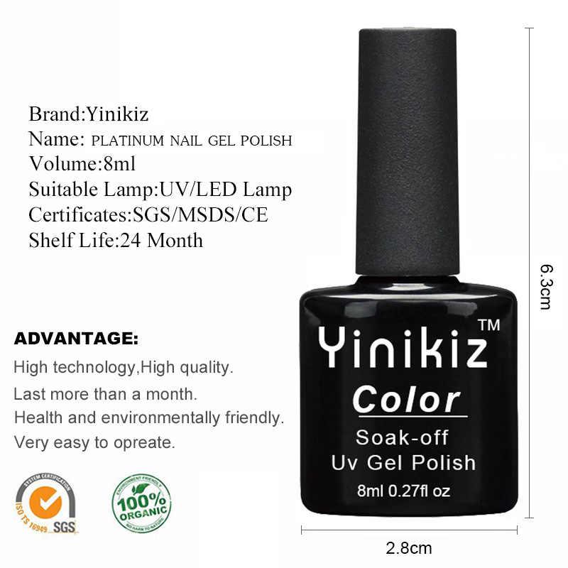 Yinikiz 8 Cores UV Gel Gel Série Super Brilhante Brilho de Platina Polonês Unhas Arte UV LEVOU Estrelado Efeito Glitter Gel laca