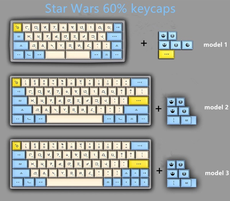 1 set DSA PBT Dye Sublimation Key Caps 60% Mechanical Keyboard Keycaps  Godspeed Colour Matching For Star Wars Canvas Typeface