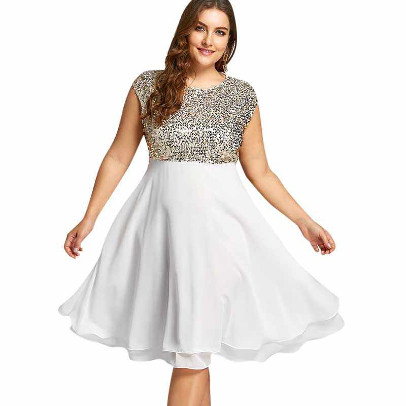 Wipalo Women Plus Size 5XL Flounce Sequin Sparkly Party Dress Female  Vintage Short Sleeves Knee-Length Party Ball Gown Vestidos