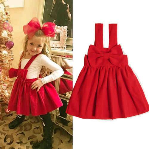 1c262c0a3dcc4 1-6T Christmas Kids Baby Girl Clothing Sleeveless Bowknot Tutu Dress  Elegant Party Princess Cute Xmas Red Dress