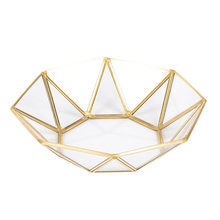 LUDA Nordic Style Brass + glass Geometry Storage Baskets Box Simplicity Style Home Organizer For Jewelry Necklace Dessert Plat(China)
