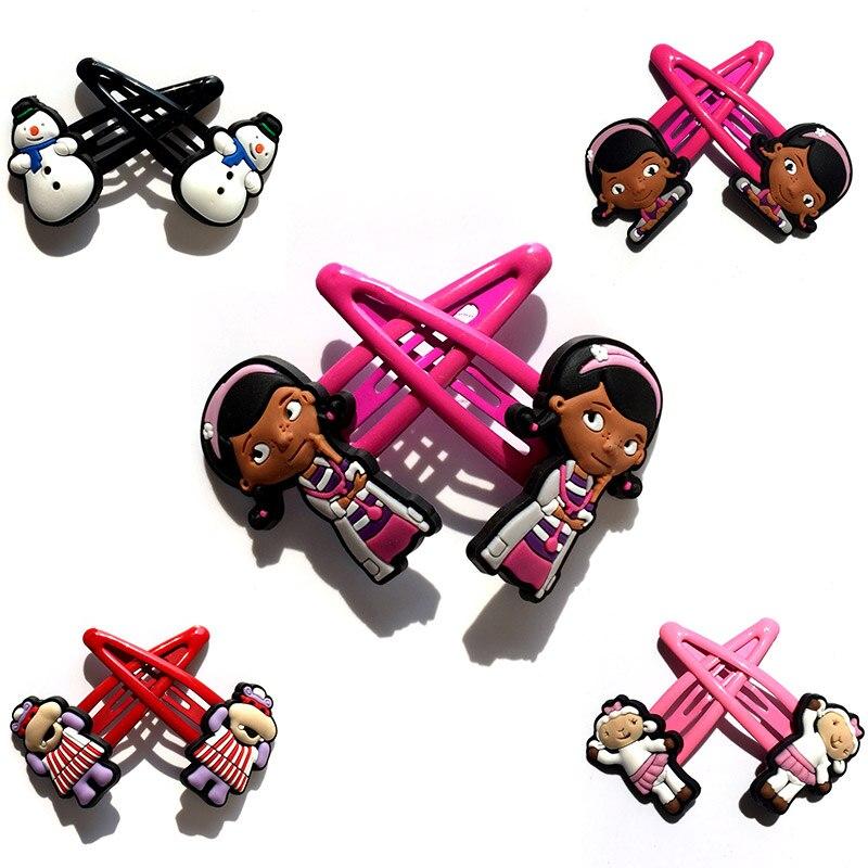 1pair/2pcs Doc Mcstuffins Cartoon PVC Hairpins Hair Clips Barrettes Cute Hair Accessories For Girls Headwear Kids Xmas Gifts