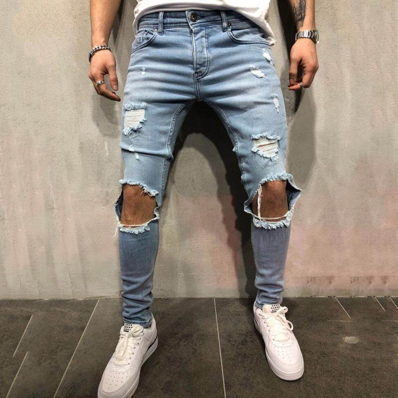 Jeans Pencil-Pants Skinny Stretch Biker Slim Men Fashion Trend Denim Shredded Freyed