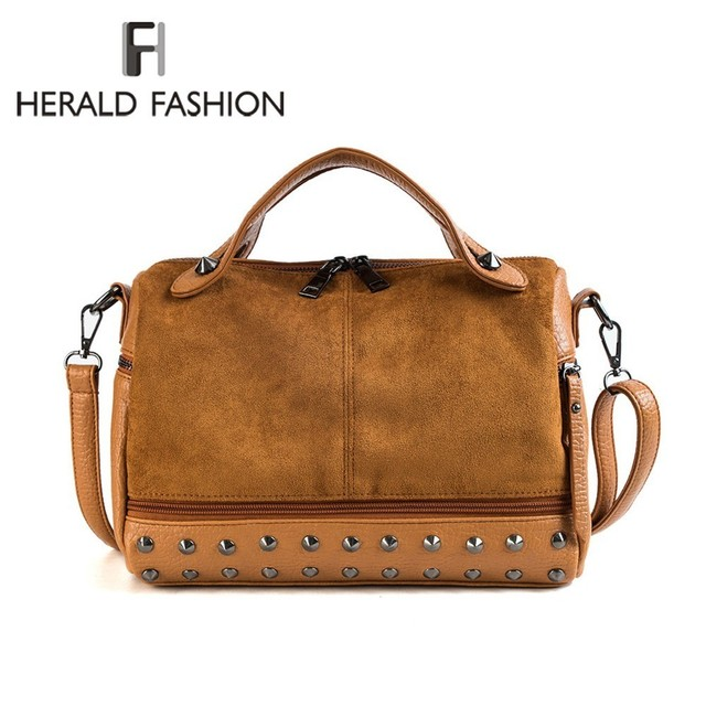 Herald Fashion Women Top-handle Bags with Rivets High Quality Leather Female Shoulder Bag Large Vintage Motorcycle Tote Bags Sac