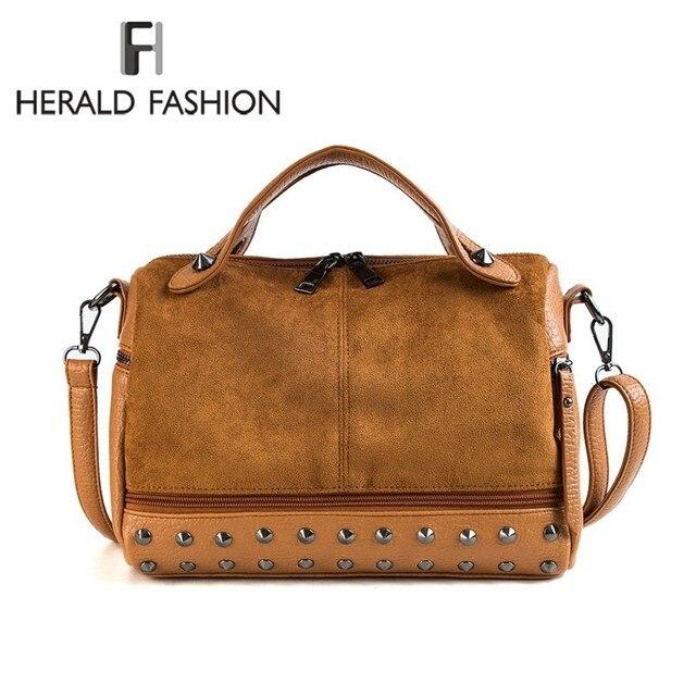f0901f3e0 Herald Moda Mulheres Top-handle Sacos com Rebites de Couro de Alta  Qualidade Bolsa de