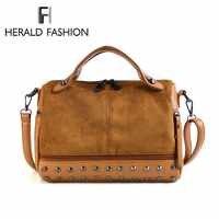 Herald moda feminina superior-lidar com sacos com rebites de alta qualidade couro feminino bolsa de ombro grande vintage da motocicleta tote sacos sac