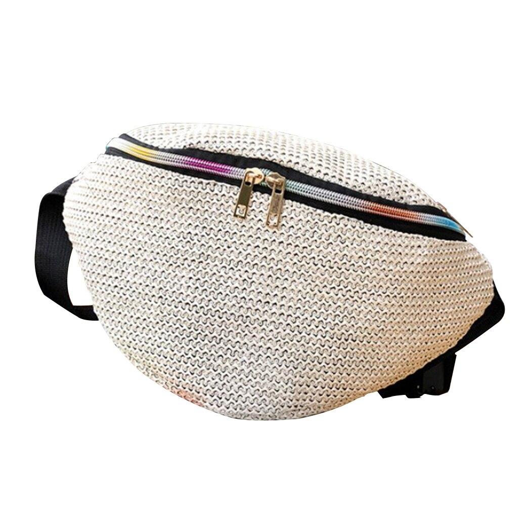 2019 Summer Bohemian Design Beach Straw Weave Waist Fanny Packs Women's Belt Waist Bag Pure Pouch Zipper Chest Bag Handbag