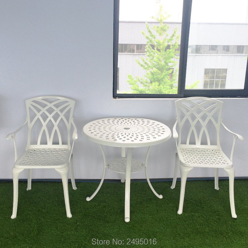 3-piece Cast Aluminum Outdoor Furniture Decor Patio Furniture Bistro Set High-back Arm Chair And Table For Garden ,pooliside