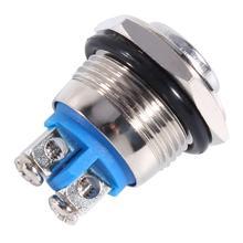 12 В 16 мм Автомобильный водонепроницаемый мгновенный металлическая кнопка включения выключения рупорный переключатель серебряная металлическая кнопка переключатель