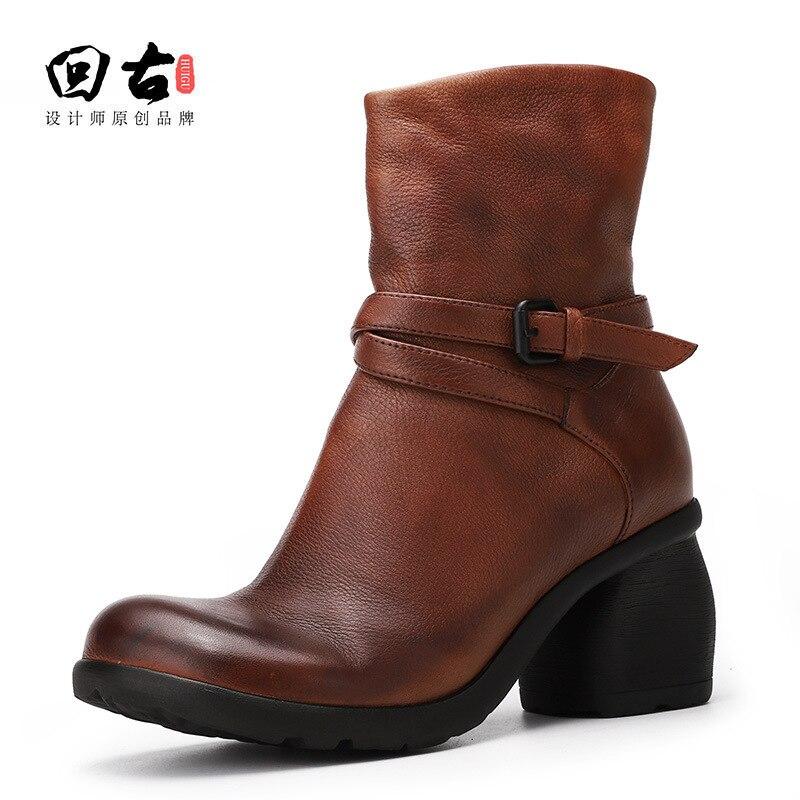 Bottes Couleur Vache Antique Femmes Black Haute brown Martin D'hiver Femme Chaussures Grossier ZpCqFxYw